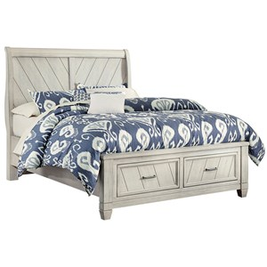 Rustic Queen Sleigh Bed with Storage