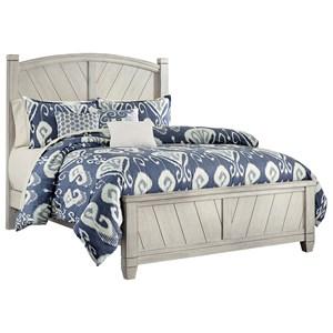 Rustic Queen Panel Bed with Wine Barrel Inspired Panels