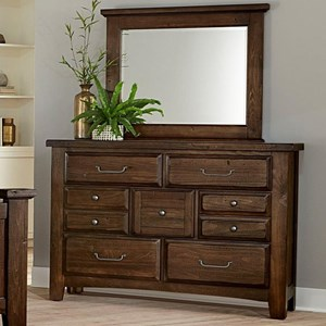 Transitional 7 Drawer Dresser and Mirror