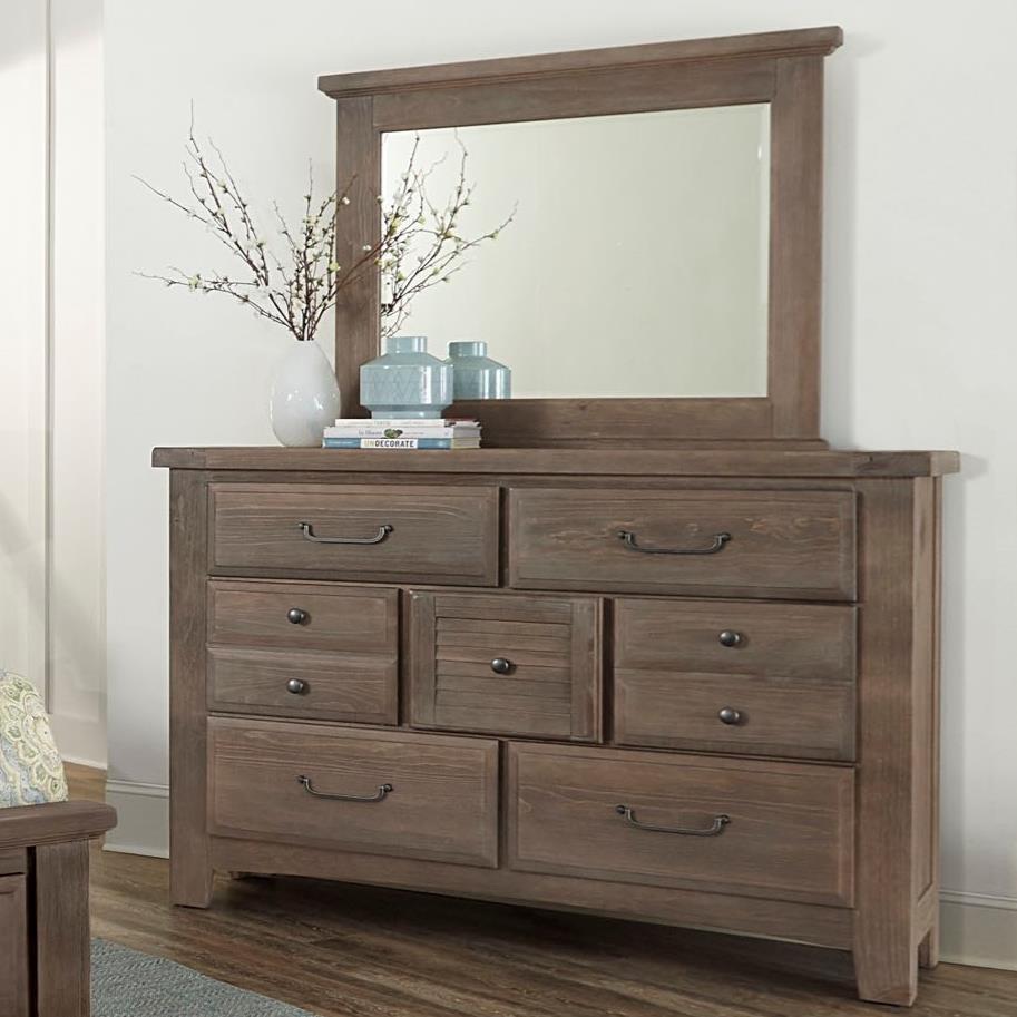 Sawmill Dresser & Mirror Set by Vaughan Bassett at Johnny Janosik