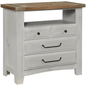 Transitional 4 Drawer Media Chest with Antique Pewter Finished Hardware