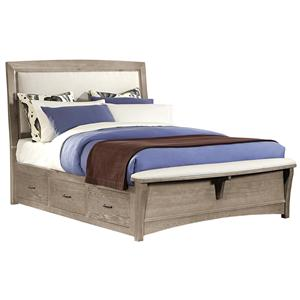 King Upholstered Bed with 2 Side Storage Units