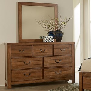 Casual 7 Drawer Dresser and Mirror