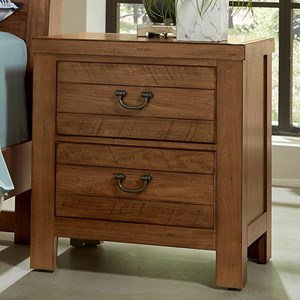 Casual 2 Drawer Nightstand with 2 USB Ports