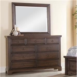 Distressed Finish Chesser - 9 Drawers & Landscape Mirror