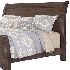 Distressed Queen Sleigh Headboard with Solid Wood Planks