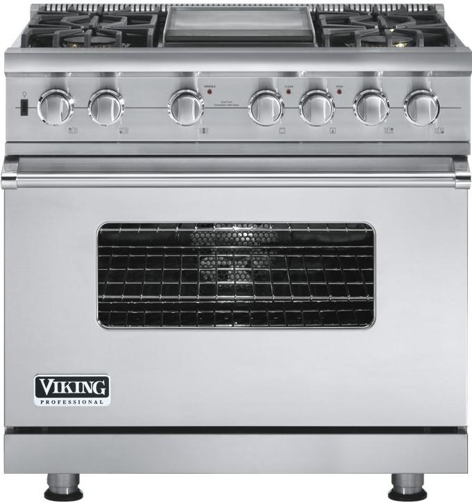 """Professional Series 36"""" Freestanding Dual Fuel Range by Viking at Fisher Home Furnishings"""