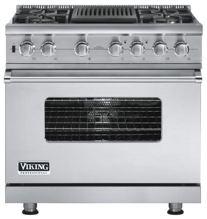 "Professional Series 36"" Freestanding Dual Fuel Range by Viking at Fisher Home Furnishings"