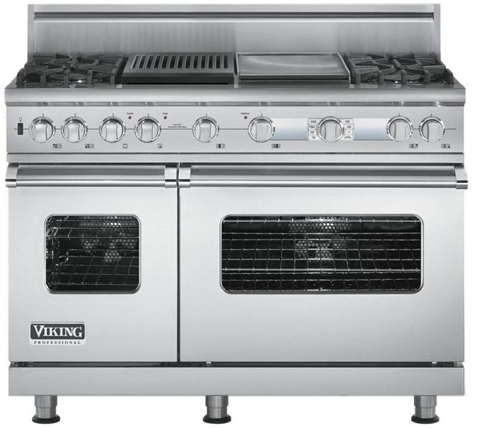 """Professional Series 48"""" Freestanding Dual Fuel Range by Viking at Fisher Home Furnishings"""