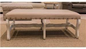 Linen Bench in White