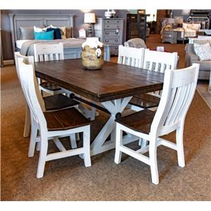 Pedestal Table with Six Curved Back Chairs