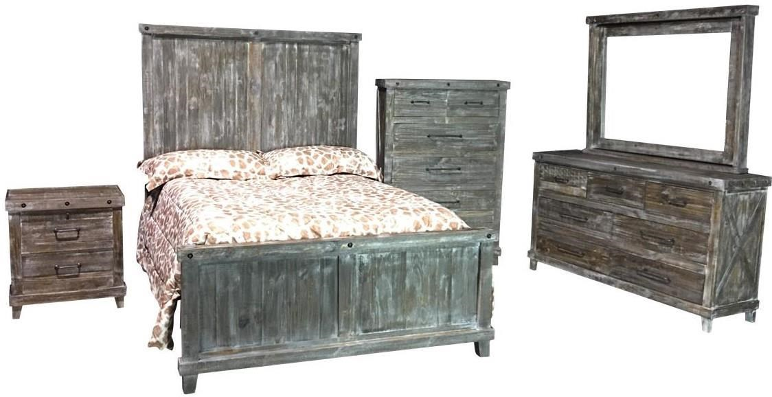 Industiral Queen Panel Bed by Vintage at Wilcox Furniture