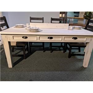 Dining Table with Drawers in Nero White