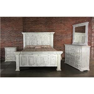 King Nero White Bed, Dresser & Mirror