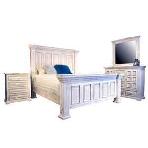 King Nero White Bed, Dresser & Mirror