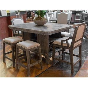 Kitchen Island Pub Table, 4 Backless Barstools & 2 Barstools