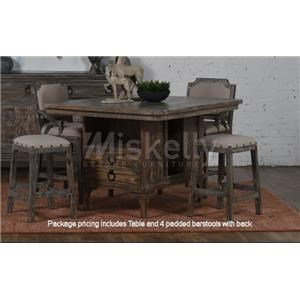 Pub Table & 4 Bar Stools with Back