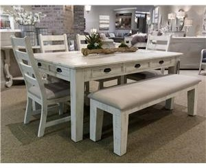 Dining Leg Table, 4 Side Chairs & Bench