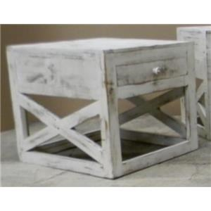 Cross End Table in Nero White