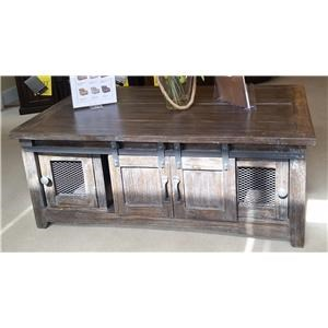 Cocktail Table With Mesh Doors in Barnwood