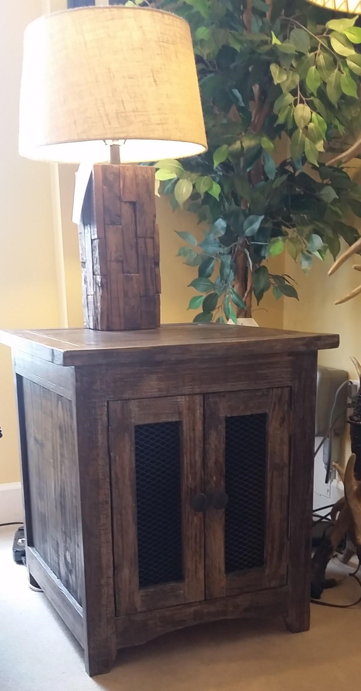 JON1027 End Table With Mesh Doors by Vintage at Rife's Home Furniture