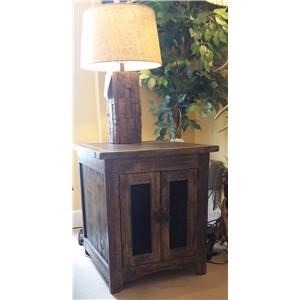 End Table With Mesh Doors in Barnwood