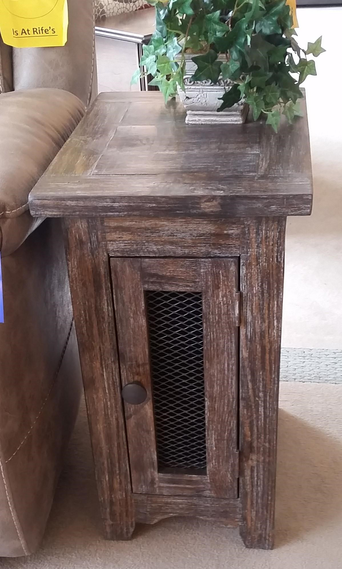 JON1027 Side Table With Mesh Door by Vintage at Rife's Home Furniture