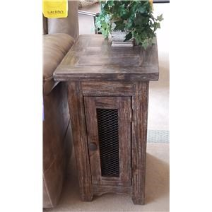 Side Table with Mesh Door in Barnwood
