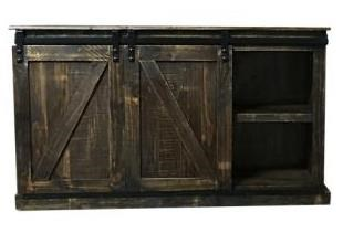 """MICENT145 61"""" Sliding Door Media Console by Vintage at Rife's Home Furniture"""