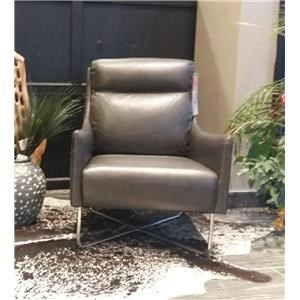 All Leather Arm Chair with Metal Legs