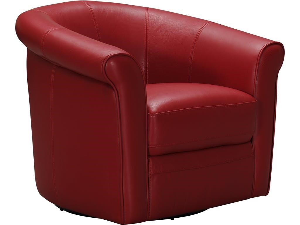 Leather Swivel Roll Arm Chair (Red)
