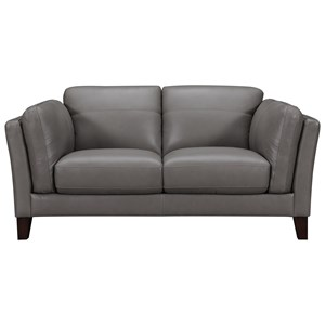 Transitional Loveseat with Plush Arm Cushions