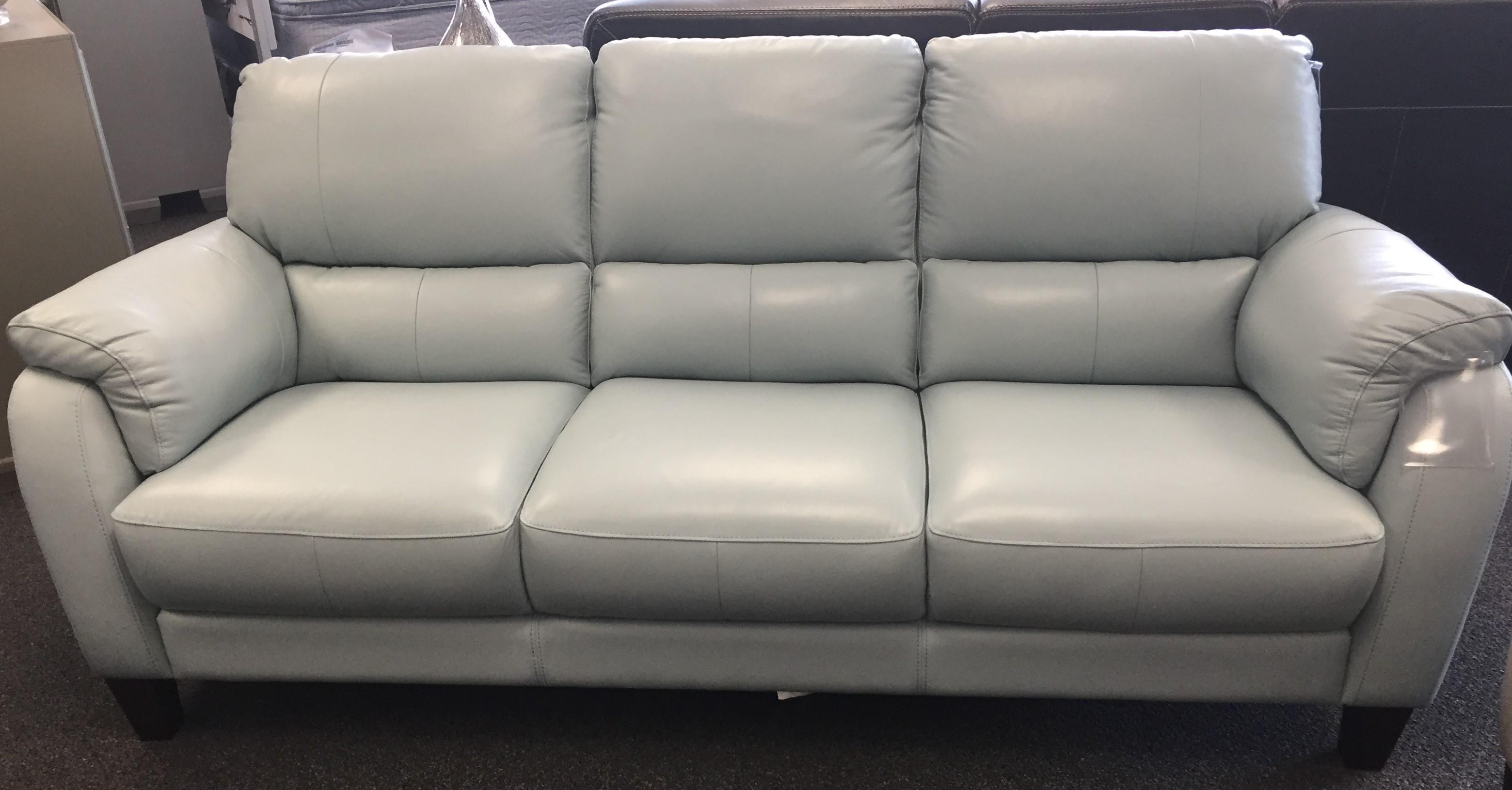 31933 Egg Blue Leather Sofa by Violino at Furniture Fair - North Carolina