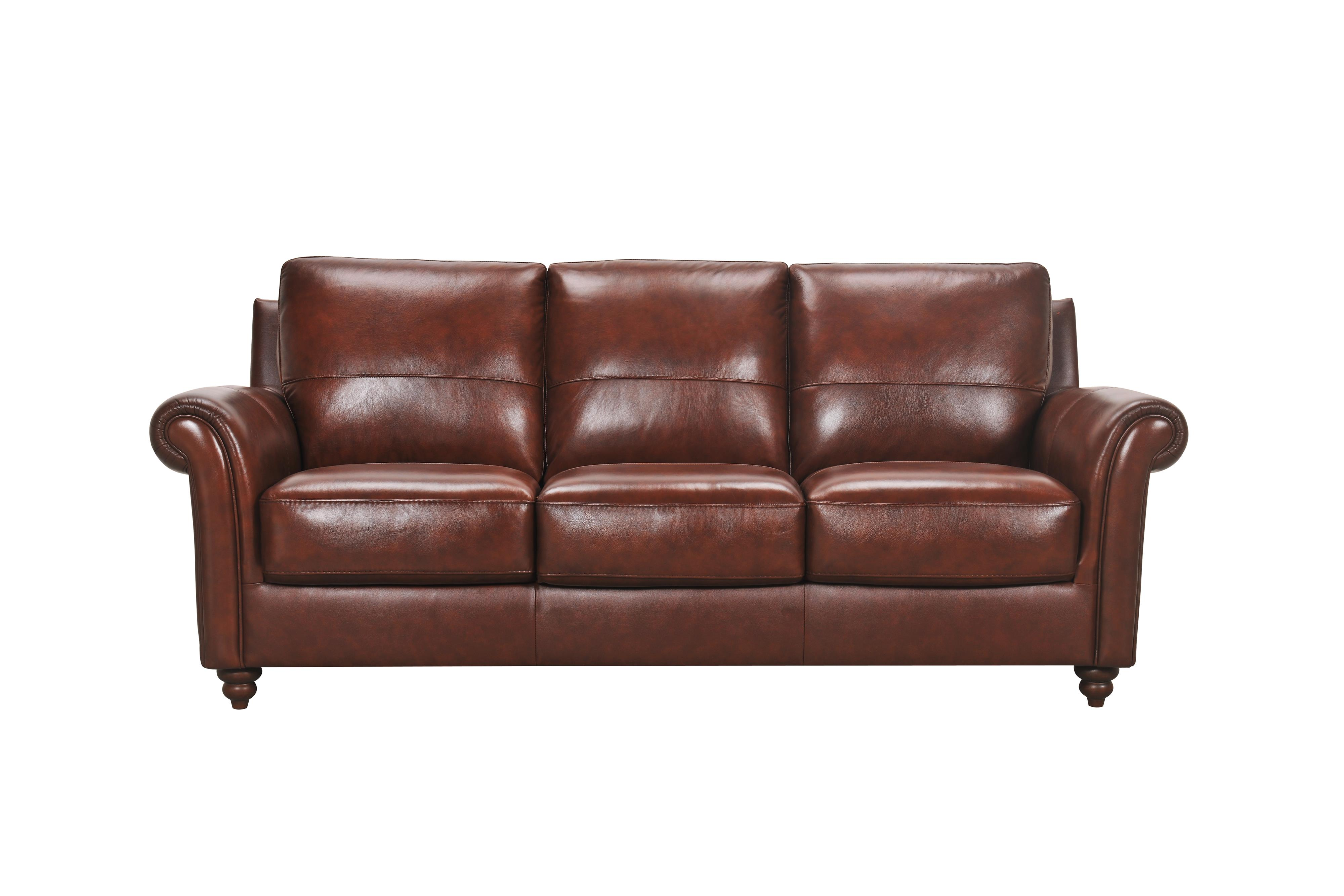 Leather Sofa with Rolled Arms and Turned Wood Feet