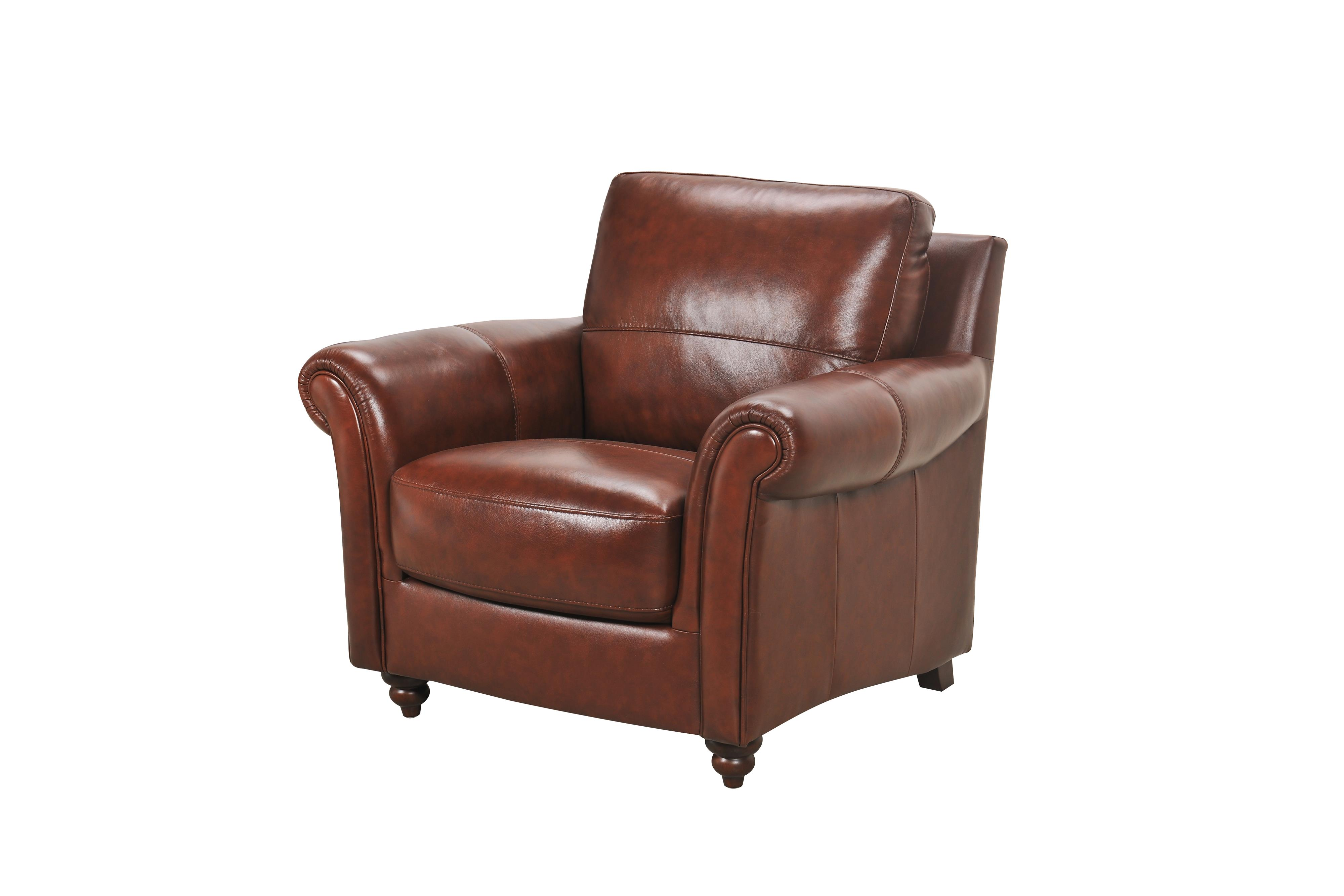Grady Leather Chair with Rolled Arms and Turned Wo by Violino at O'Dunk & O'Bright Furniture