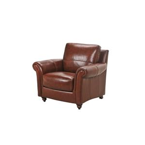 Leather Chair with Rolled Arms and Turned Wood Feet