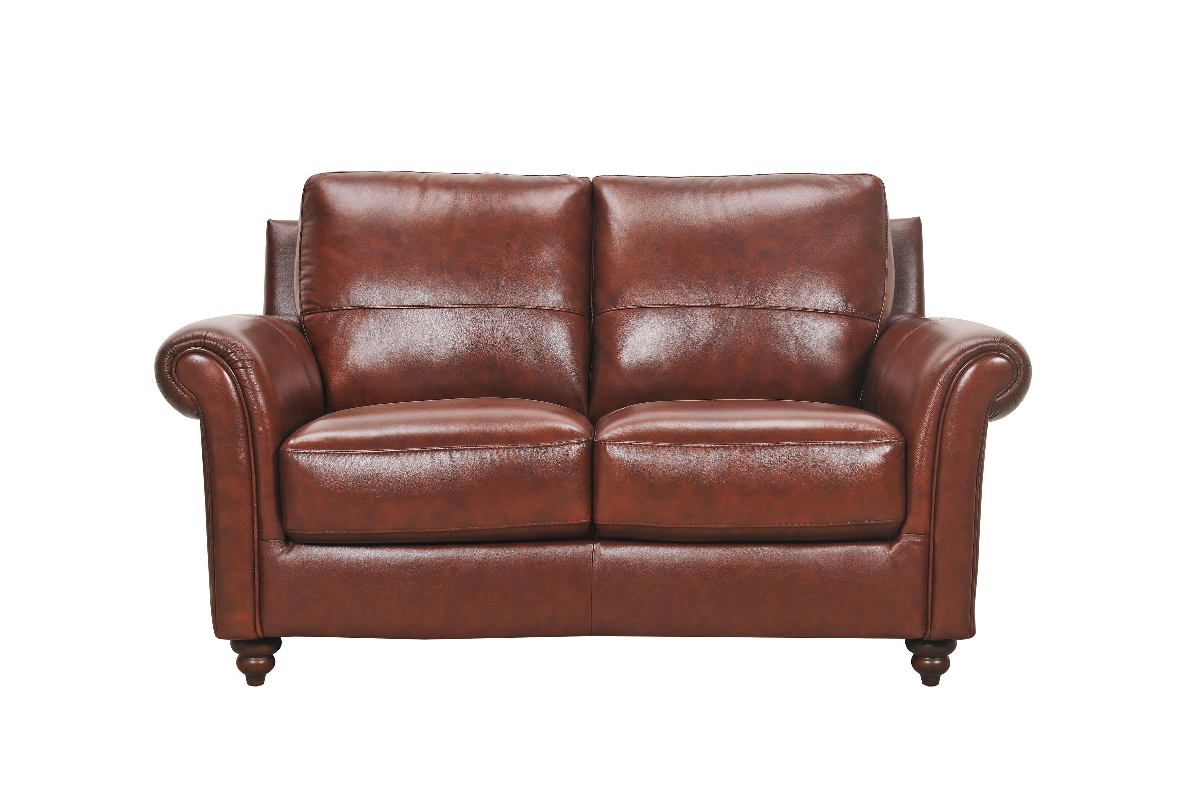 Leather Loveseat with Rolled Arms and Turned Wood Feet
