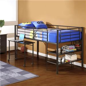 Walker edison bedroom twin over workstation metal loft bed for Big w bedroom storage