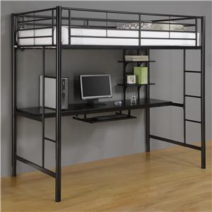 Walker Edison Bedroom Metal Twin/Workstation Loft Bed