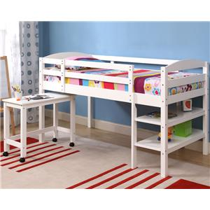 Walker Edison Bedroom Twin Wood Loft Bed with Desk