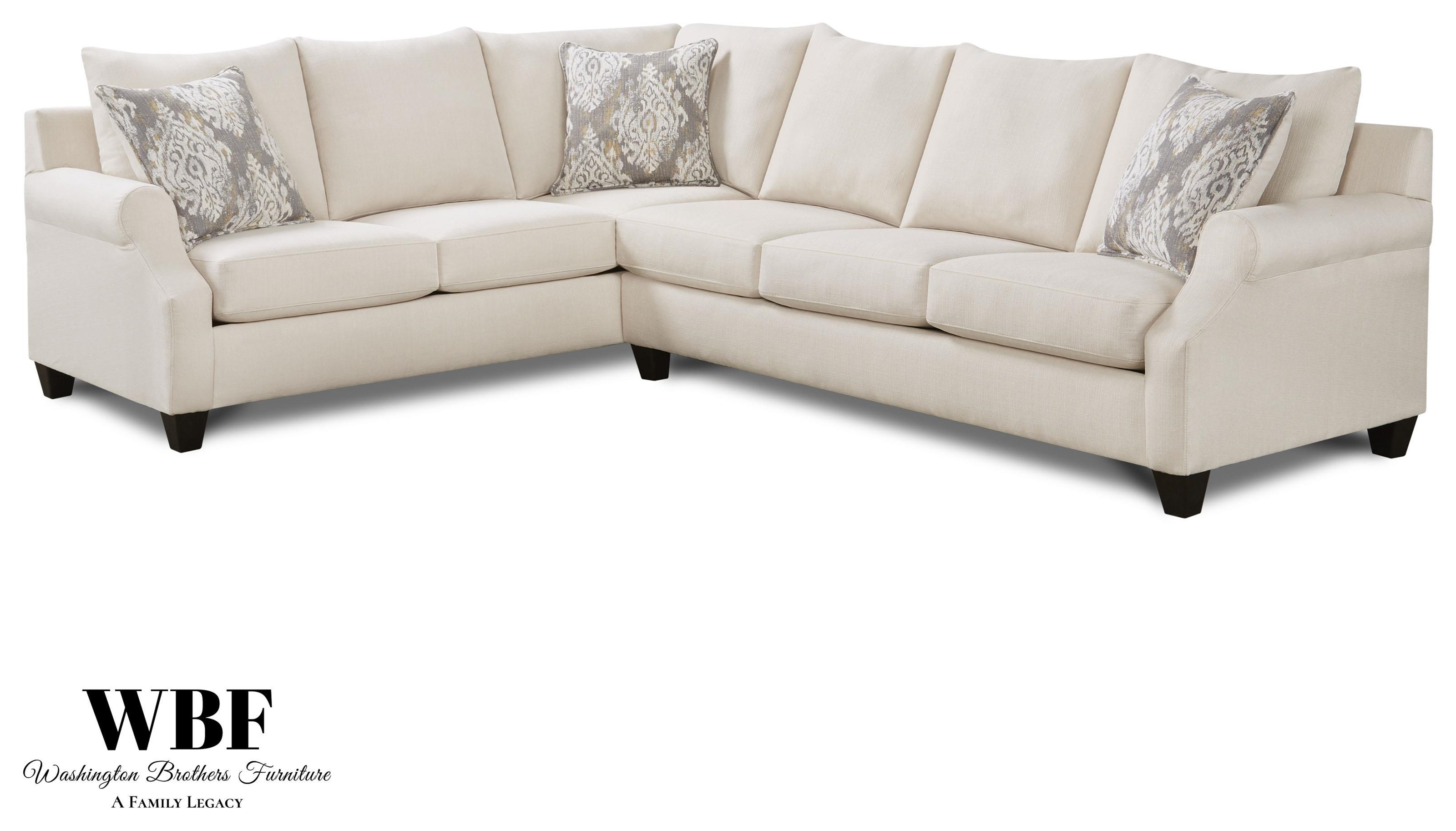 1197 Sectional Two Piece Cream Sectional by Washington Brothers Furniture at Furniture Fair - North Carolina