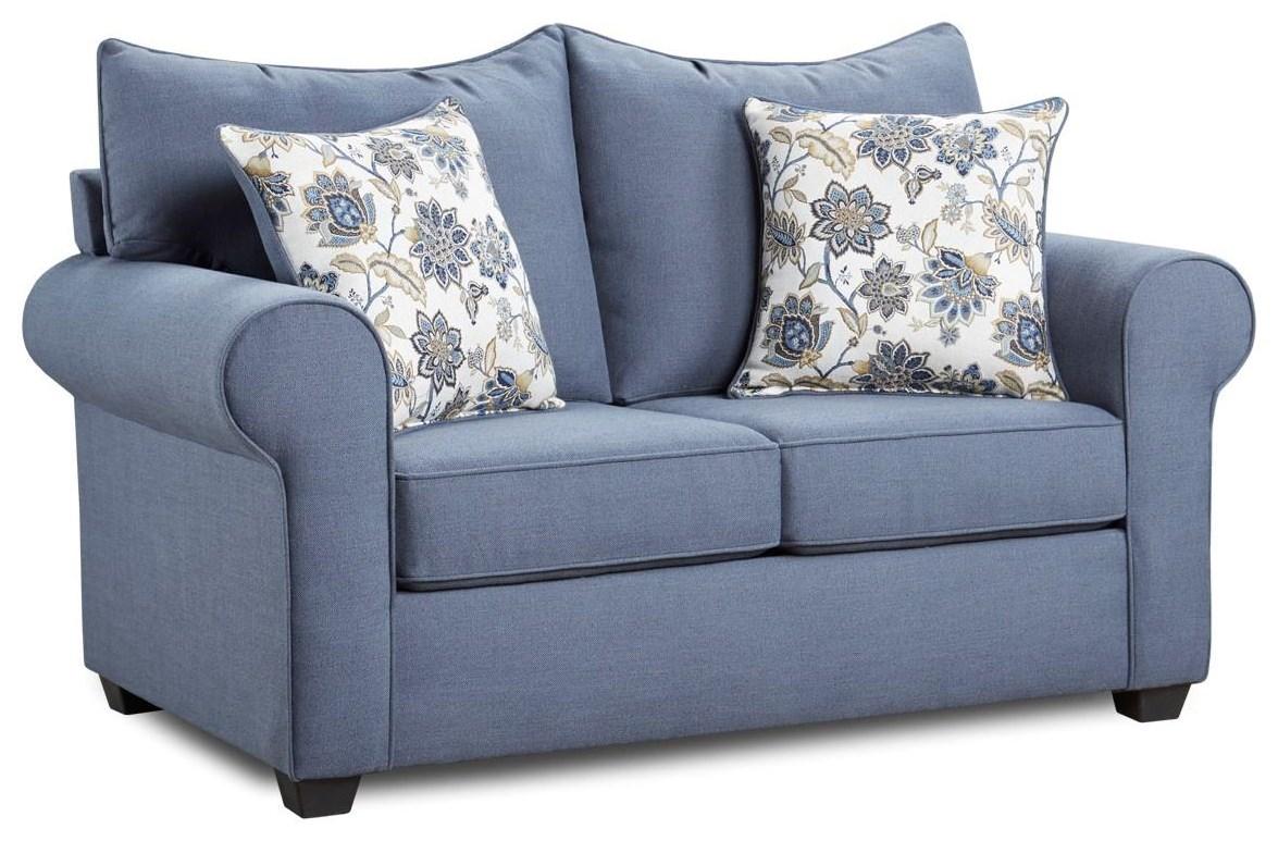 4000 Collection Indigo Blue Loveseat by Washington Brothers Furniture at Furniture Fair - North Carolina