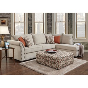 Contemporary 3 Seat Sectional with Right Arm Facing Chaise