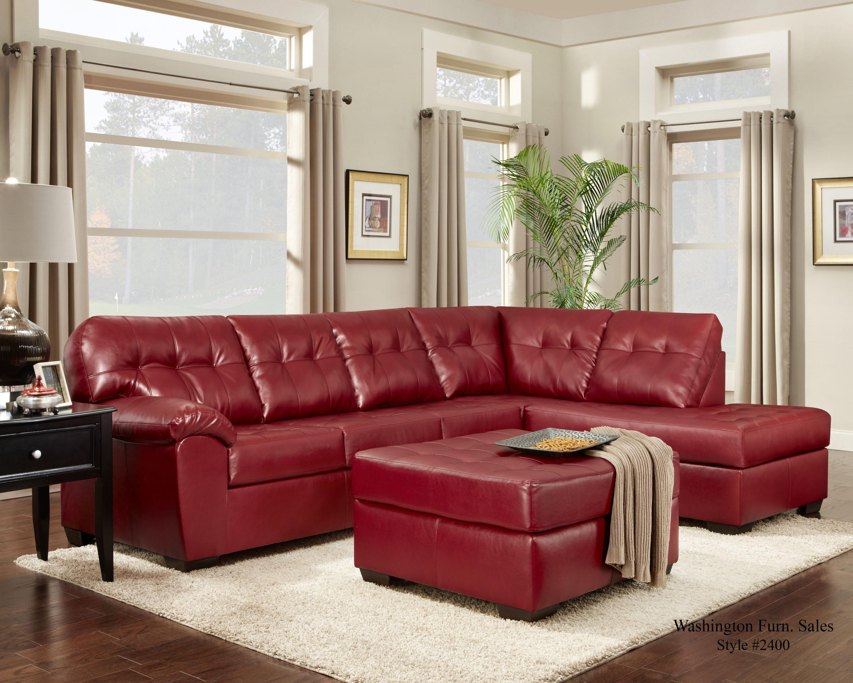 2400 Chaise Sectional by Washington Furniture at Lynn's Furniture & Mattress