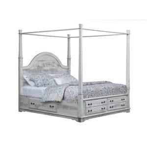 Queen Canopy Bed With 3-Sided Storage