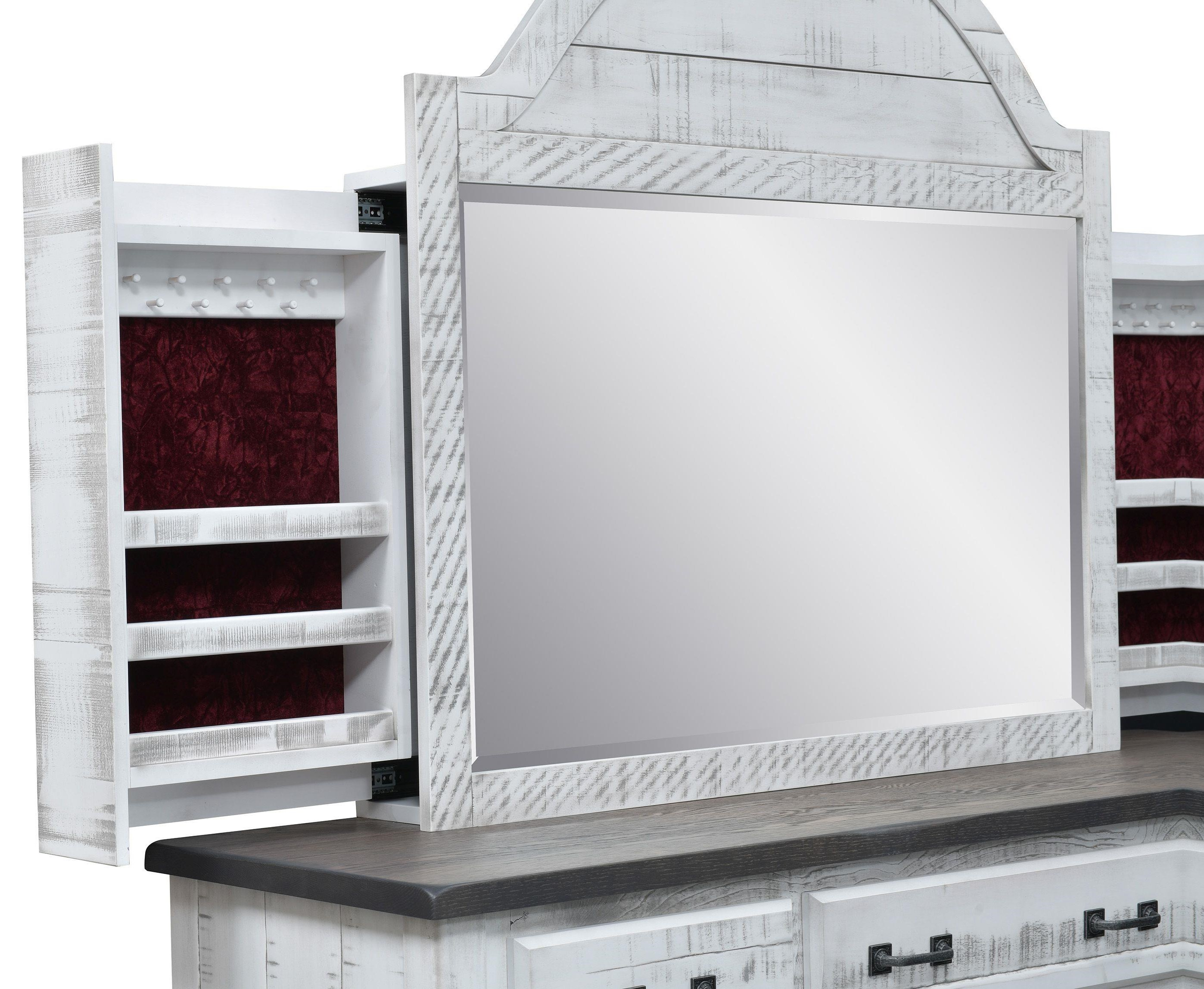 Cottage Retreat Jewelry Storage Mirror by Wayside Custom Furniture at Wayside Furniture
