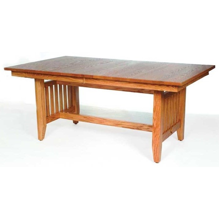 Custom Amish Dining Trestle Mission Table by Weaver Woodcraft at Saugerties Furniture Mart