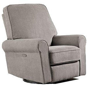 Transitional Swivel Glider Rocker Recliner with Rolled Arms