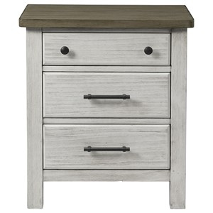 Relaxed Vintage Nightstand with Outlets