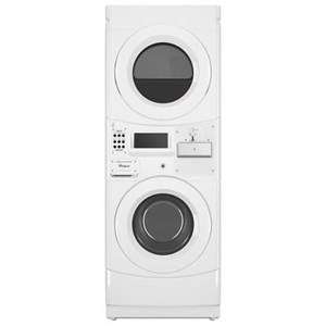 Commercial Gas Stack Washer and Dryer with Coin-Drop
